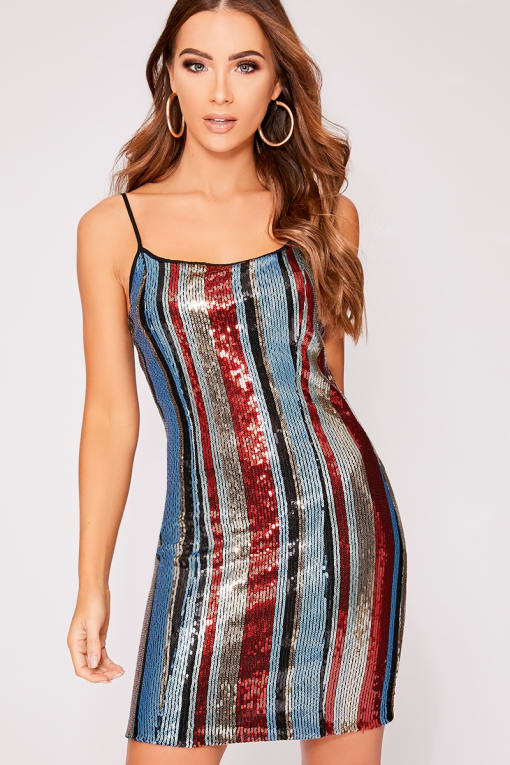 DUA RED STRIPED SEQUIN BODYCON DRESS
