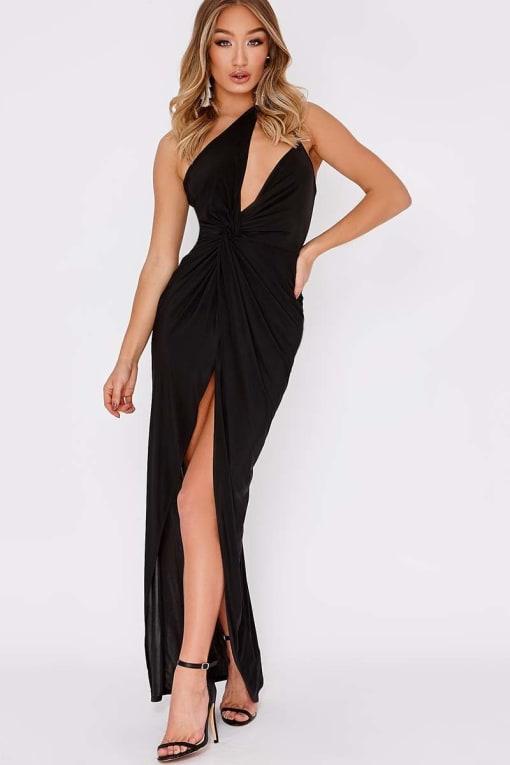 DILIS BLACK ONE SHOULDER DOUBLE STRAP MAXI DRESS