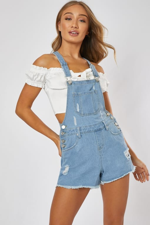 NEDALIA LIGHT BLUE DISTRESSED DENIM DUNGAREES