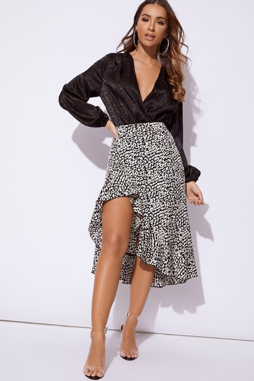 JHOANNE BLACK AND WHITE LEOPARD PRINT SATIN WRAP FRONT MIDI SKIRT