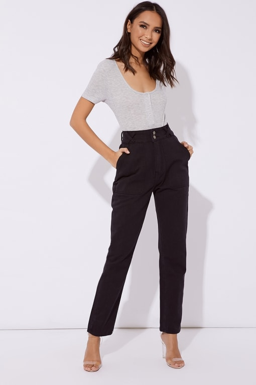 MAVRIC BLACK UTILITY POCKET MOM JEANS