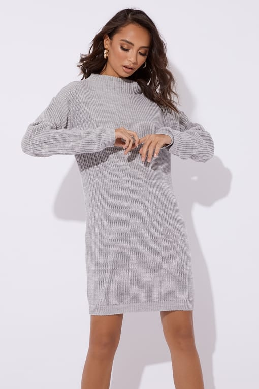 AABEA GREY HIGH NECK KNITTED DRESS