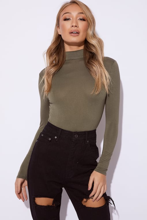 BASIC KHAKI ROLL NECK LONG SLEEVED BODYSUIT