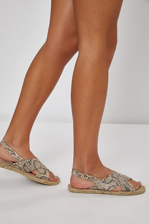 JAYNAH NATURAL SNAKE FAUX SUEDE CROSS STRAP SANDALS