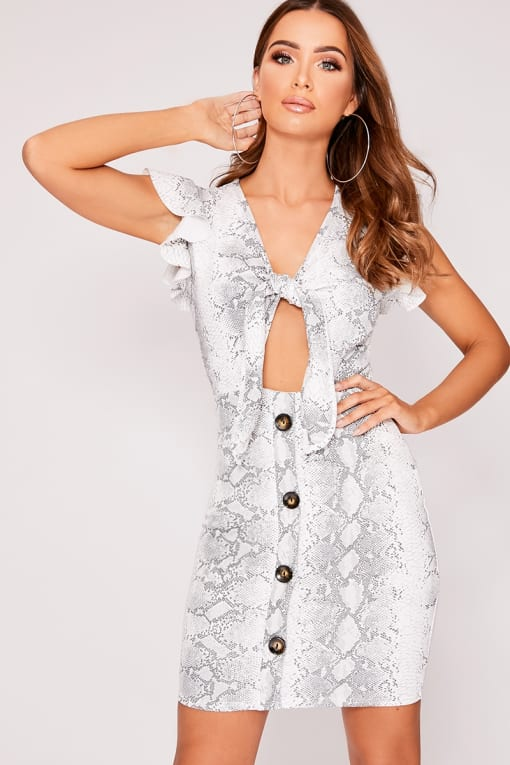 LELE WHITE SNAKE PRINT TIE FRONT HORN BUTTON DRESS