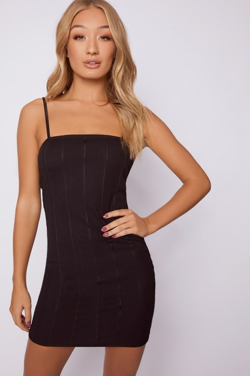 ADDIE BLACK BANDAGE SQUARE NECK MINI DRESS