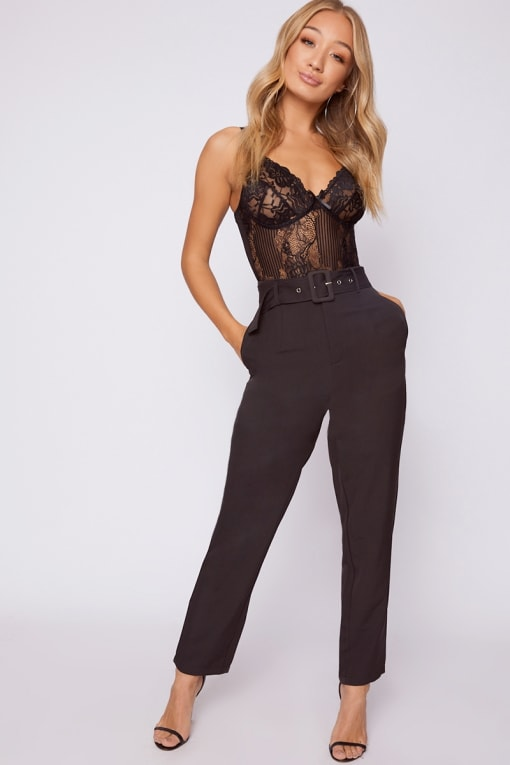 NILAH BLACK HIGH WAISTED TAILORED TROUSERS