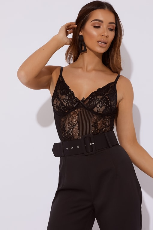 NADALIA BLACK LACE HIGH LEG BODYSUIT