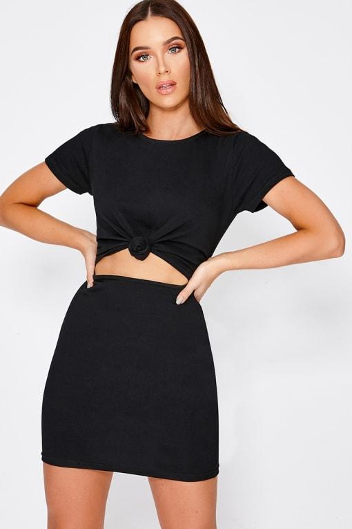 CHARLOTTE CROSBY BLACK KNOT DETAIL T-SHIRT DRESS