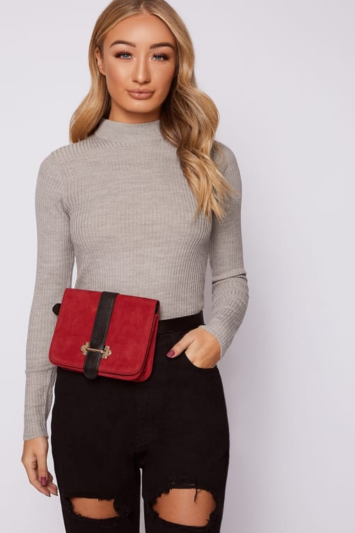 BLACK PU STRAP VELVET BELT BAG