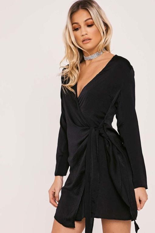 BINA BLACK SILKY WRAP SHIRT DRESS