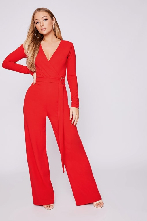 BILLIE FAIERS RED LONG SLEEVE RING DETAIL PALAZZO JUMPSUIT