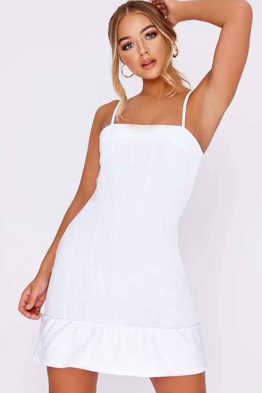 BILLIE FAIERS WHITE BANDAGE PEPHEM MINI DRESS