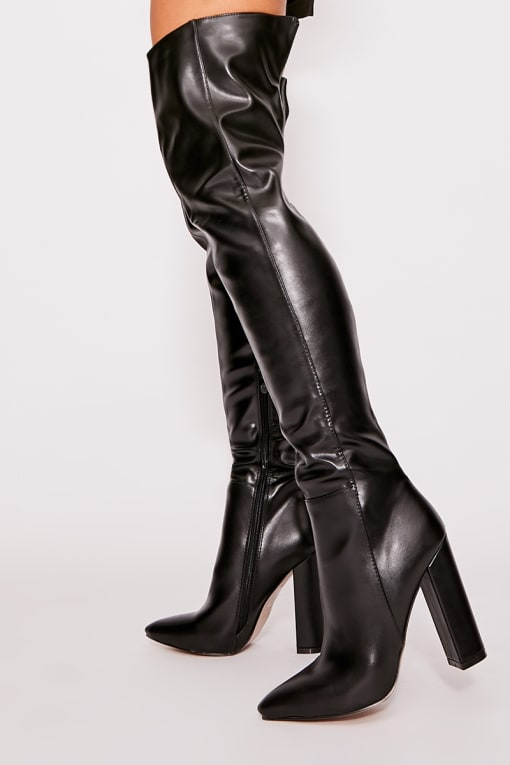 URSHIA BLACK FAUX LEATHER OVER THE KNEE BOOTS