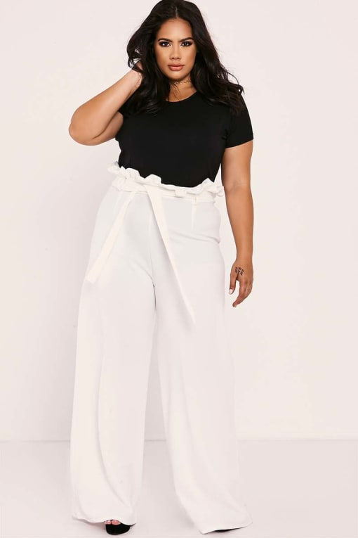 CURVE SARAH ASHCROFT WHITE FLARED HIGH WAISTED PAPERBAG TROUSERS