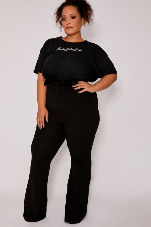 CURVE DANI DYER BLACK HIGH WAISTED PAPERBAG TROUSERS