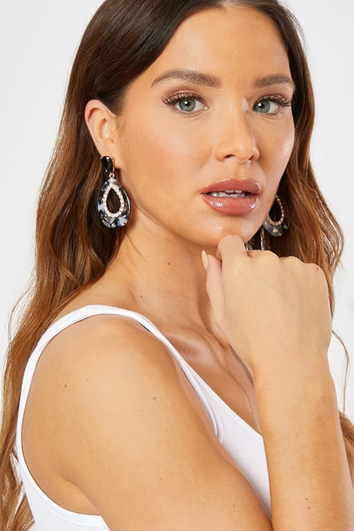 GREY DROP PATTERNED DIAMANTE EARRINGS