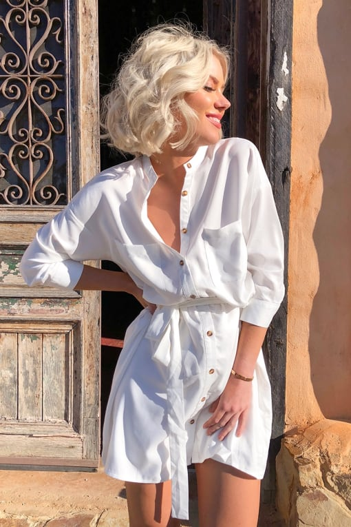LAURA JADE WHITE BELTED SHIRT DRESS