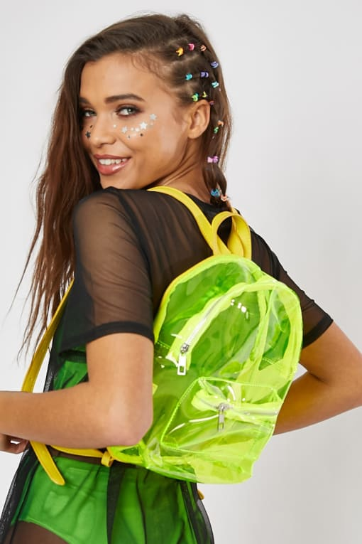 NEON YELLOW CLEAR BACK PACK