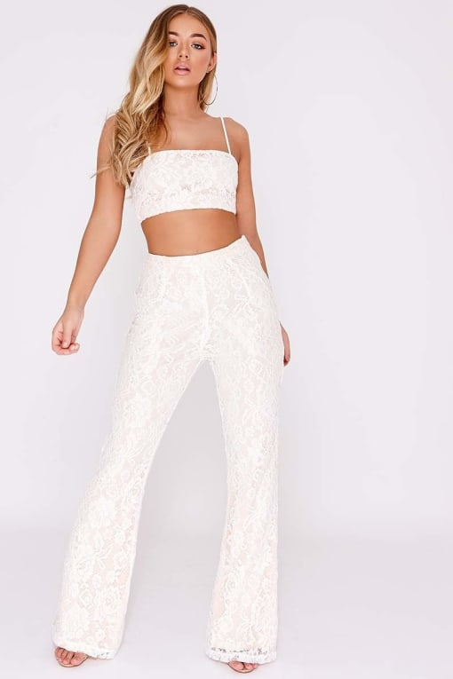 BILLIE FAIERS WHITE LACE FLARE TROUSERS
