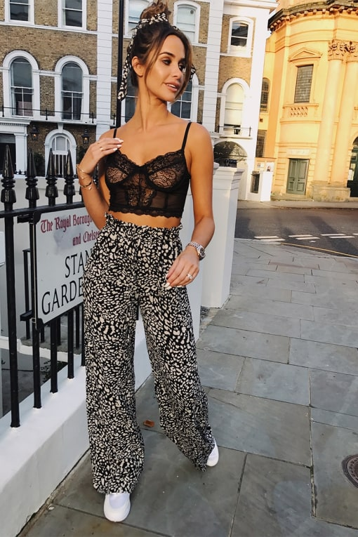 EMILY SHAK BLACK LEOPARD PRINT WIDE LEG TROUSERS