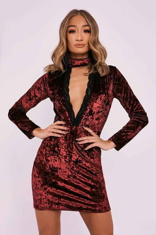 BEBE WINE CRUSHED VELVET LACE TRIM PLUNGE DRESS