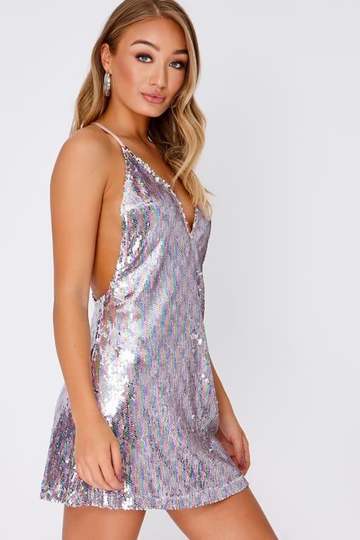 DAIJA RAINBOW SEQUIN PLUNGE SLIP DRESS