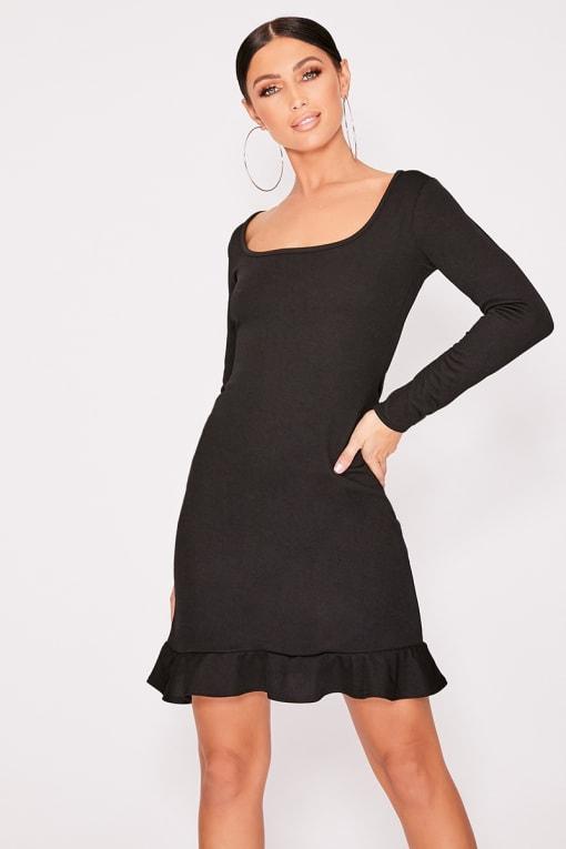 BRIONIEY BLACK FRILL HEM LONG SLEEVE DRESS