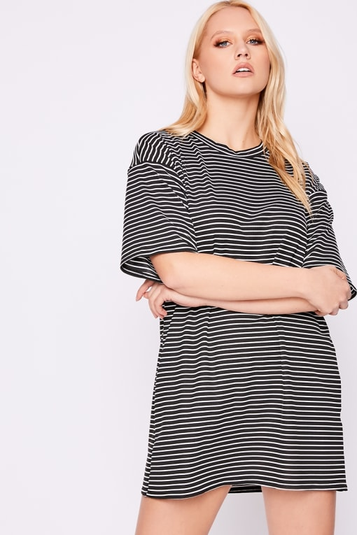 FLAURA BLACK RIBBED STRIPE T SHIRT DRESS
