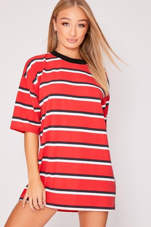 IGGI RED STRIPE OVERSIZED T SHIRT DRESS
