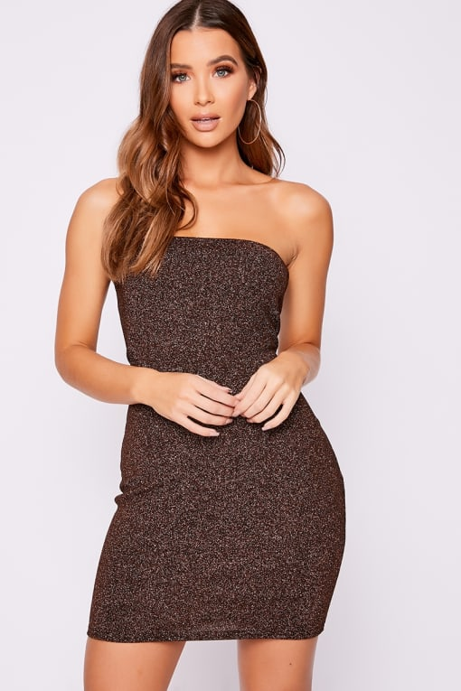 GEMINI COPPER GLITTER BANDEAU MINI DRESS