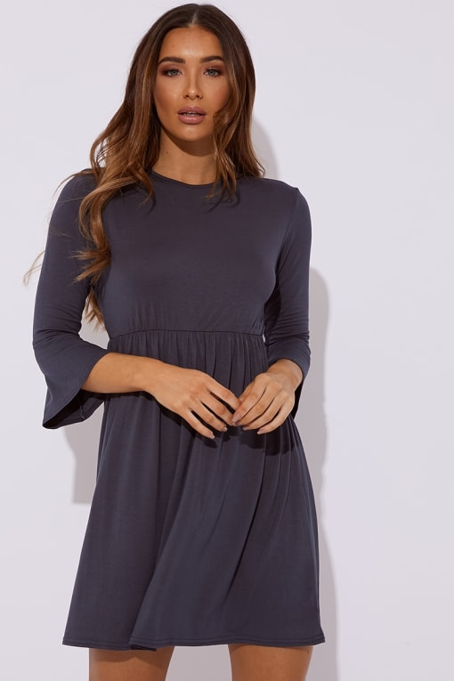 EIRIAN SLATE BLUE JERSEY SMOCK DRESS