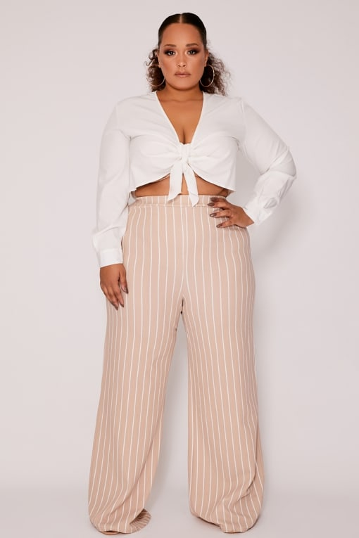CURVE MELYNNA NUDE STRIPE HIGH WAISTED WIDE LEG TROUSERS