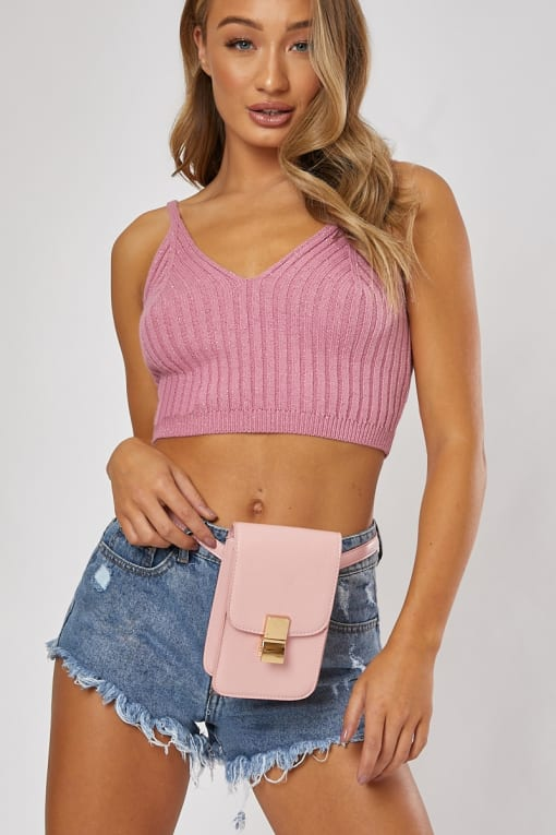 PINK SMALL GOLD BUCKLE BELT BAG