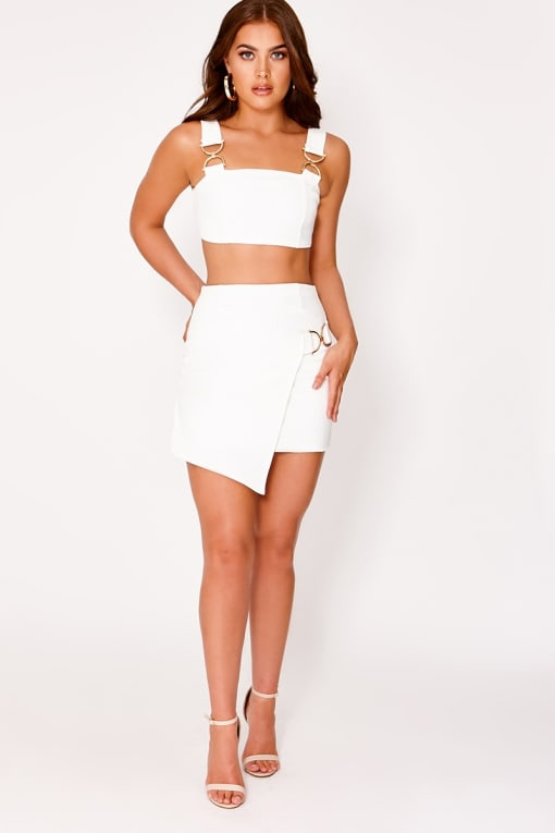 SARAH ASHCROFT WHITE BUCKLE DETAIL WRAP SKIRT