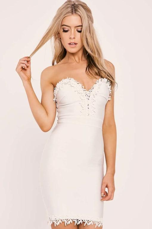 KALANI WHITE CROCHET TRIM BODYCON BANDAGE DRESS