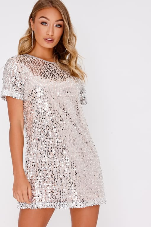 MADELINE SILVER SEQUIN T SHIRT DRESS