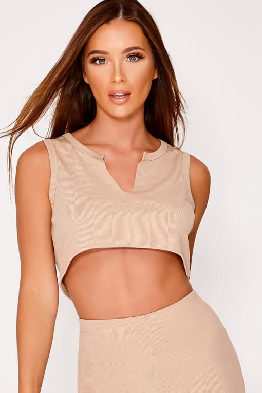 JASMINA STONE SPLIT FRONT RIBBED CROP TOP
