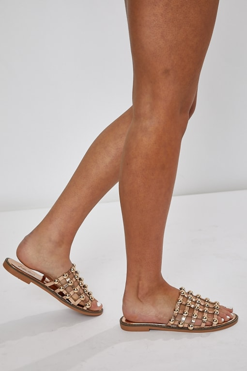 HYUNDA ROSE GOLD METAL STUD SANDALS