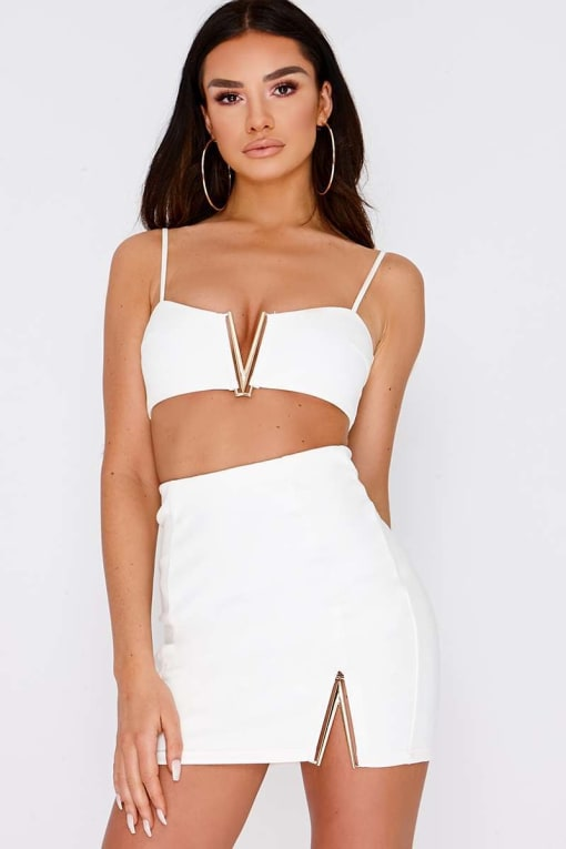 SARAH ASHCROFT WHITE V DETAIL FAUX SUEDE CROP TOP