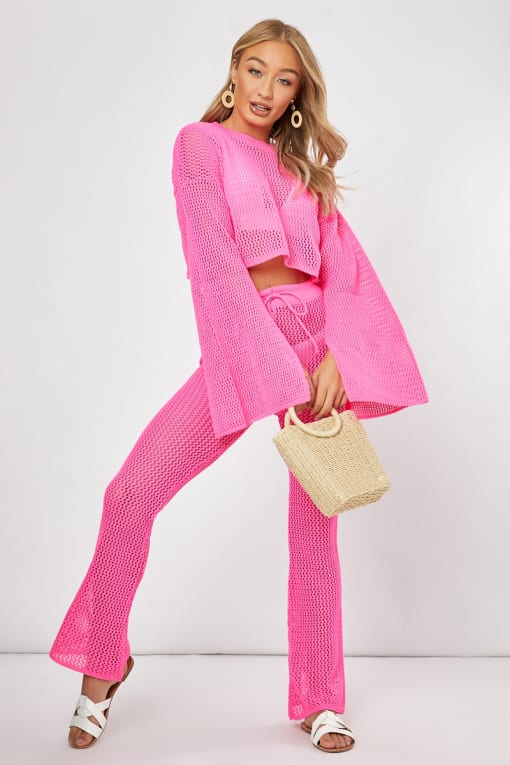 ZAFIRA PINK CROCHET CO-ORD CROP JUMPER AND TROUSERS