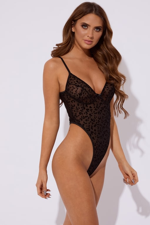 NATALIA BLACK LEOPARD VELVET AND MESH BODYSUIT