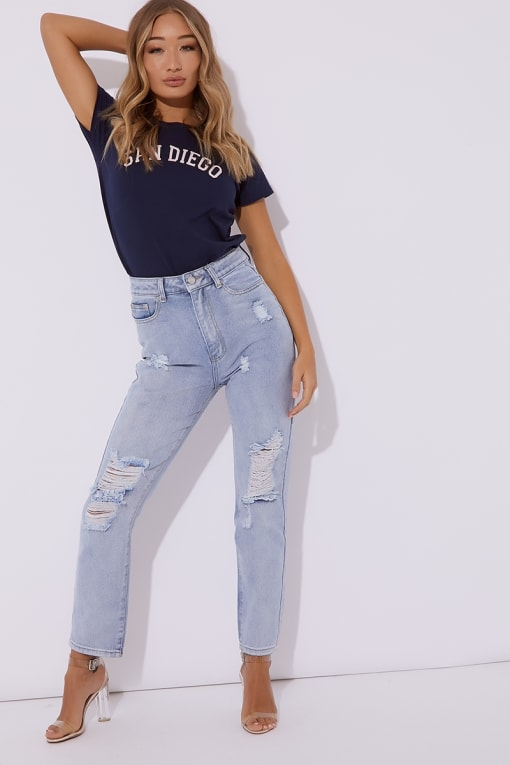 MAVRIC BLEACH BLUE DISTRESSED FRONT & BACK MOM JEANS