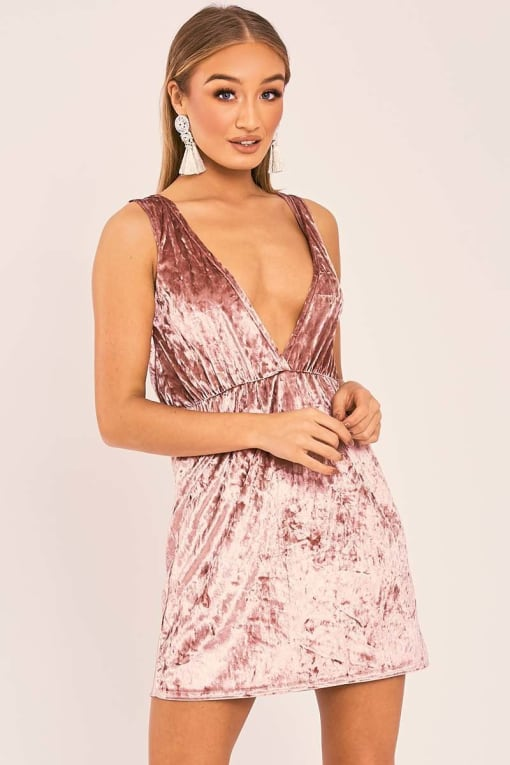 ESMI ROSE VELVET PLUNGE MINI DRESS