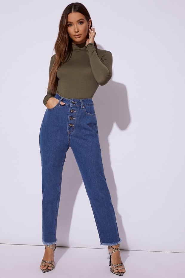 MAVRIC BLUE DENIM HORN BUTTON MOM JEANS