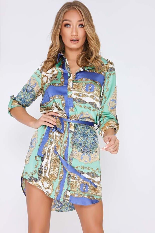 FARIA BLUE SATIN SCARF PRINT SHIRT DRESS
