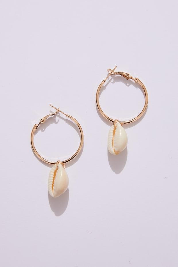 GOLD HOOP SHELL EARRINGS