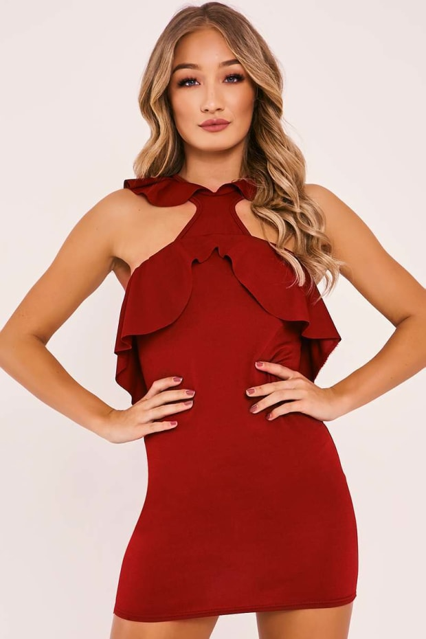 ALBERTA WINE FRILL DETAIL BODYCON MINI DRESS