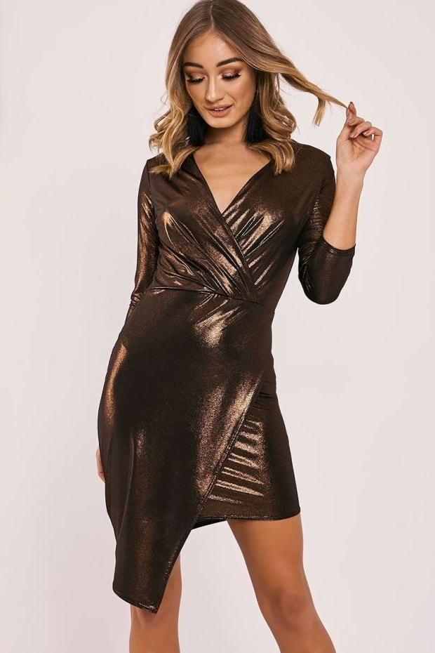 CARY GOLD METALLIC ASYMMETRIC WRAP DRESS