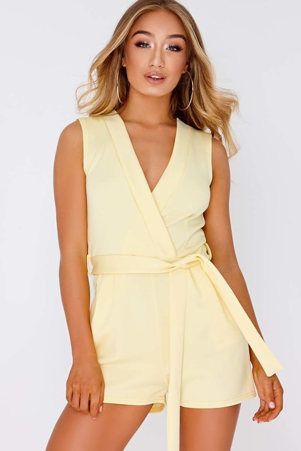 EMIA YELLOW PLUNGE TIE FRONT WRAP PLAYSUIT